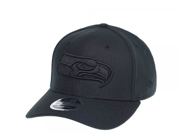 New Era Seattle Seahawks Black on Black 9Fifty Stretch Snapback Cap