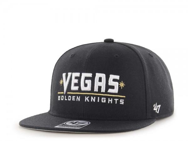 47Brand Vegas Golden Knights No Shot Black Script Captain Snapback Cap