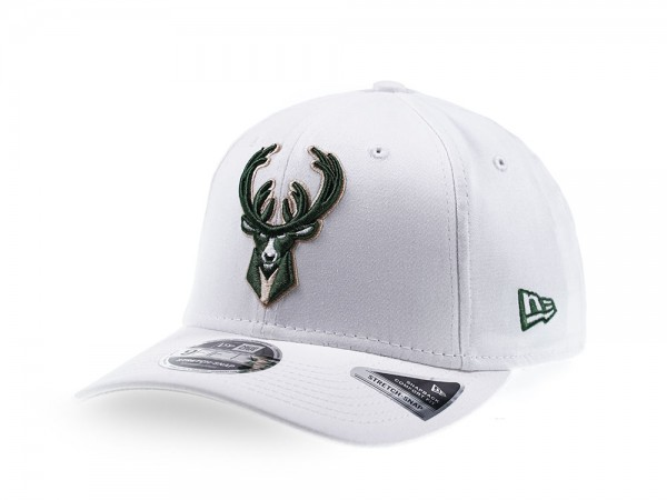 New Era Milwaukee Bucks All White 9Fifty Stretch Snapback Cap