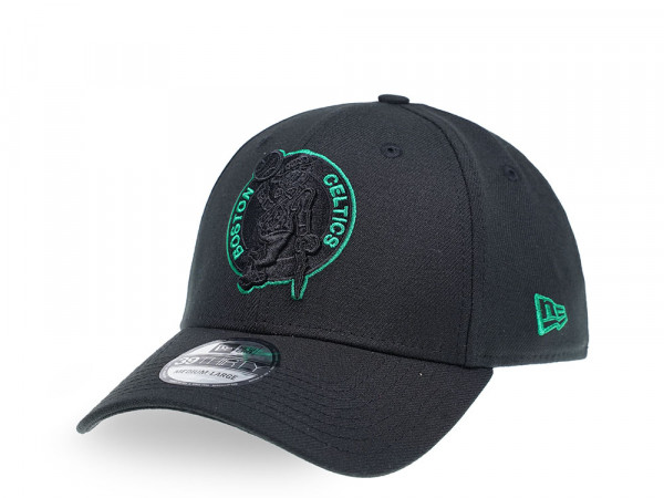 New Era Boston Celtics Black Outline 39Thirty Stretch Cap